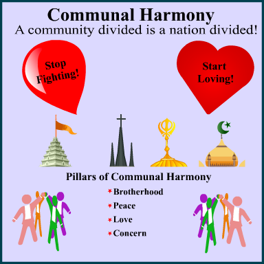 100 150 words essay on communal harmony Amity between the communities in the country and absence of friction and  tension among them is known as communal harmony.